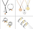 Photo of various jewellery by Mycharm on the white background. Necklaces, bracelets and rings. Color: silver, black, yellow and pink gold.
