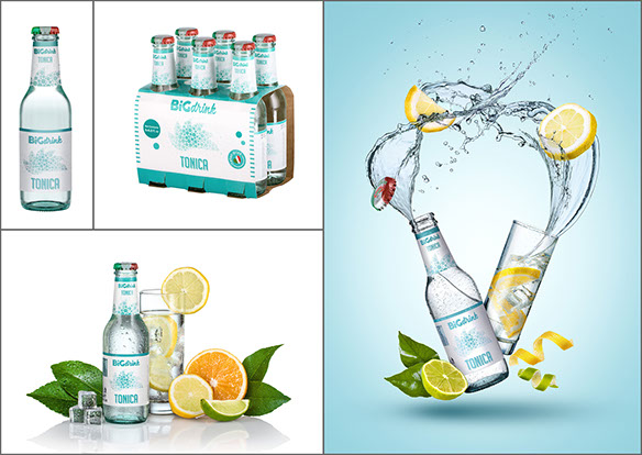 A mosaic of four pictures of the same beverage, from simple bottle on white to dynamic shot with splashing water.